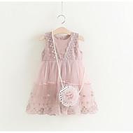 فستان بدون كم لون سادة حلو للفتيات أطفال