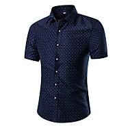 Муж. С принтом Большие размеры - Рубашка Тонкие Активный / Уличный стиль Геометрический принт Темно синий XXXL / С короткими рукавами