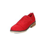 tanie Small Size Shoes-Damskie Komfortowe buty Zamsz Wiosna i jesień Minimalizm Botki Masywny obcas Okrągły Toe Ćwiek Szary / Czerwony / Różowy