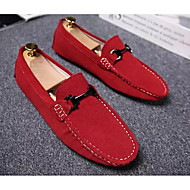 tanie Small Size Shoes-Męskie Komfortowe buty Zamsz Wiosna i jesień Casual Mokasyny i buty wsuwane Żółty / Wino