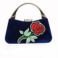 baratos Clutches & Bolsas de Noite-Mulheres Bolsas Veludo Cotelê Bolsa de Festa Bordado / Flor Bordado Vermelho / Amêndoa / Fúcsia