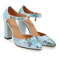 baratos Sapatos Femininos-Mulheres Sapatos Couro Ecológico Primavera Verão D'Orsay Saltos Salto Robusto Dedo Apontado Presilha Preto / Azul / Rosa claro / Festas & Noite