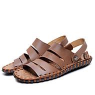 tanie Obuwie męskie-Męskie Skórzany Lato Comfort Sandały Light Brown / Dark Brown