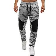 Pánské Základní Bavlna Volné Tepláky Kalhoty - Barevné bloky / maskování Černá