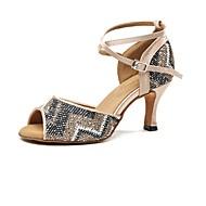 Mujer Zapatos de Baile Latino Satén Tacones Alto Tacón Carrete Zapatos de baile Nudo
