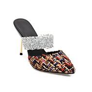 baratos Sapatos Femininos-Mulheres Sapatos Linho Primavera Verão Conforto Tamancos e Mules Salto Agulha Branco / Preto / Amêndoa