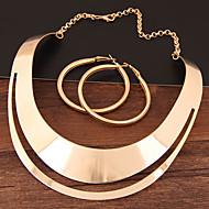 Női Üreg Ékszer szett Nyilatkozat, hölgyek, Egyszerű, Európai tartalmaz Francia kapcsos fülbevalók Nyaklánc Arany / Ezüst Kompatibilitás Estély / Naušnice