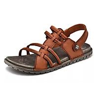 baratos Sapatos de Tamanho Pequeno-Homens Pele Napa / Pele Verão Conforto Sandálias Preto / Marron
