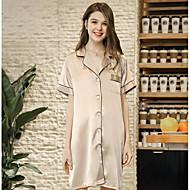 Dame Hakrevers Satin og silke Pyjamas Ensfarvet
