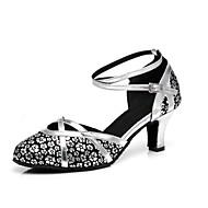 billige Moderne sko-Dame Moderne sko Syntetisk Høye hæler Spenne / Sided Hollow Out Kubansk hæl Dansesko Gull / Lys Rød / Sølv