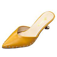 cheap Women's Clogs & Mules-Women's Slingback PU(Polyurethane) Fall Clogs & Mules Flared Heel Pointed Toe Black / Beige / Yellow