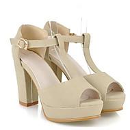 tanie Obuwie damskie-Damskie Komfortowe buty PU Lato Sandały Gruby obcas Czarny / Beżowy / Różowy