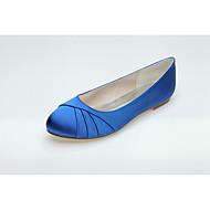 tanie Obuwie damskie-Damskie Komfortowe buty Satyna Wiosna Buty płaskie Płaski obcas Biały / Niebieski