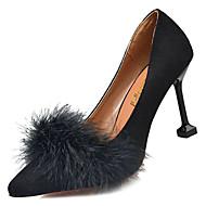 baratos Sapatos Femininos-Mulheres Stiletto Couro Ecológico Outono Doce Saltos Salto Agulha Pom Pom Preto / Bege