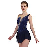 Figure Skating Dress สำหรับผู้หญิง เด็กผู้หญิง สเก็ตน้ำแข็ง ชุดเดรสต่างๆ สีน้ำเงินกรมท่า กุหลาบแดง ฟ้า Elastane ความยืดหยุ่นสูง Competition Skating Wear ออกแบบตามสรีระ ทำด้วยมือ คลาสสิก พลอยเทียม