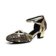 billige Moderne sko-Dame Moderne sko Syntetisk Høye hæler Spenne / Sided Hollow Out Tykk hæl Dansesko Gull / Lys Rød / Sølv