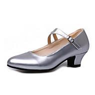 billige Moderne sko-Dame Moderne sko Lakklær Høye hæler Knapper Kubansk hæl Kan spesialtilpasses Dansesko Svart / Sølv / Mørkerød