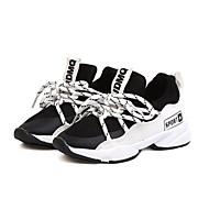 baratos Sapatos de Menina-Para Meninas Sapatos Com Transparência Outono & inverno Conforto Tênis Caminhada Cadarço para Infantil Branco / Preto / Rosa claro