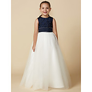 Prenses Taşlı Yaka Yere Kadar Saten / Tül Boncuklama ile Çiçekçi Kız Elbisesi tarafından LAN TING BRIDE®