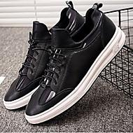 baratos Sapatos Masculinos-Homens Sapatos Confortáveis Couro Primavera Verão / Outono & inverno Casual Tênis Branco e Preto / Preto / Vermelho