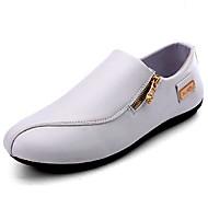 baratos Sapatos Masculinos-Homens Couro Envernizado Outono Conforto Mocassins e Slip-Ons Branco / Preto / Laranja / Festas & Noite