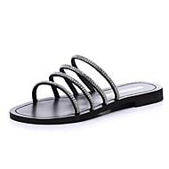 baratos Sapatos Femininos-Mulheres Sapatos Couro Sintético Verão Conforto Sandálias Sem Salto Preto / Prata / Amêndoa
