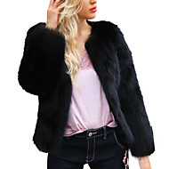 Women's Holiday / Going out Street chic Spring / Fall & Winter Plus Size Short Jacket, Solid Colored Round Neck Long Sleeve Faux Fur Black XL / XXL / XXXL