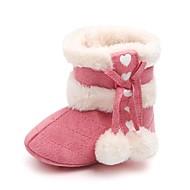 baratos Sapatos de Menina-Para Meninas Sapatos Algodão / Pêlo Sintético Inverno / Outono & inverno Sapatos de Berço / Botas de Neve Botas Velcro / Pom Pom para Bebê Vermelho / Rosa claro / Amêndoa / Festas & Noite