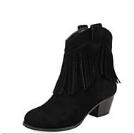 baratos Sapatos Femininos-Mulheres Borla Tênis Camurça Outono & inverno Botas Salto Robusto Botas Curtas / Ankle Preto / Amêndoa