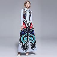 Жен. На выход С летящей юбкой Платье - Абстракция, С принтом Рубашечный воротник Макси
