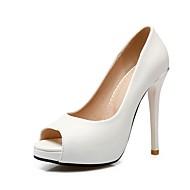 tanie Small Size Shoes-Damskie Imprezowe szpilki PU Wiosna lato Czółenka zwykłe Szpilki Szpilka Buty z wystającym palcem Biały / Czarny / Różowy / Ślub / Impreza / bankiet / Impreza / bankiet