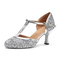 billige Moderne sko-Dame Moderne sko Fuskelær Høye hæler Utsvingende hæl Dansesko Sølv