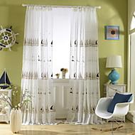 baratos Cortinas Transparentes-Sheer Curtains Shades Quarto Geométrica Poli / Mistura de Algodão Estampado