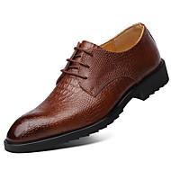 baratos Sapatos Masculinos-Homens Sapatos Confortáveis Couro Outono & inverno Casual Oxfords Listrado Preto / Marron / Festas & Noite