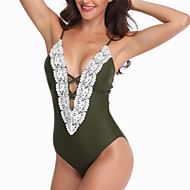 نسائي ملابس السباحة متنفس سريع جاف بوليستر سباندكس بدون كم ملابس السباحة ملابس الشاطئ خياطة تخريم Stitching Lace سباحة / مرن نسبياً