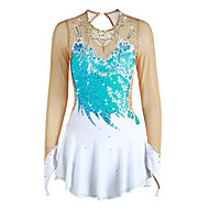 cheap -Figure Skating Dress Women's / Girls' Ice Skating Dress Pale Blue Flower Spandex High Elasticity Competition Skating Wear Handmade Solid Colored Long Sleeve Ice Skating / Figure Skating