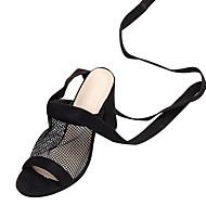 baratos Sapatos Femininos-Mulheres Sapatos Camurça Verão Chanel Sandálias Salto Robusto Dedo Aberto Preto