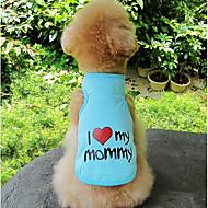 Σκυλιά Γάτες Veste Ρούχα για σκύλους Καρδιά Σύνθημα Γκρίζο Μπλε Ροζ Βαμβάκι Στολές Για Πάγκ Μπισόν Φριζέ Σνάουσερ Μίνι Καλοκαίρι Γιούνισεξ Sweet Style Καθημερινά