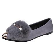 baratos Sapatos Femininos-Mulheres Sapatos Confortáveis Camurça Outono & inverno Casual / Doce Rasos Sem Salto Dedo Apontado Gliter com Brilho / Pom Pom Preto / Cinzento