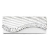 baratos Clutches & Bolsas de Noite-Mulheres Bolsas Seda Bolsa de Mão Detalhes em Cristal Branco / Preto / Vermelho