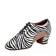 billige Moderne sko-Dame Moderne sko Nappa Lær Høye hæler Tykk hæl Kan spesialtilpasses Dansesko Hvit / Blå / Rosa