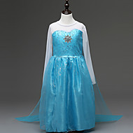 아동 토들러 여아 활동적 단 파티 홀리데이 솔리드 긴 소매 비대칭 드레스 푸른