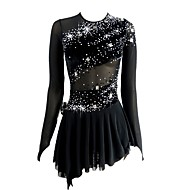 cheap -Figure Skating Dress Women's / Girls' Ice Skating Dress Black Open Back Asymmetric Hem Spandex Micro-elastic Professional / Competition Skating Wear Handmade Sequin Long Sleeve Figure Skating