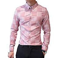 Homens Camisa Social Estampa Colorida Algodão Colarinho Clássico Delgado Rosa XL / Manga Longa / Outono
