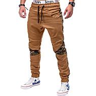 Muškarci Osnovni Pamuk Slim Sportske hlače Hlače - Jednobojni Crn / Proljeće / Jesen