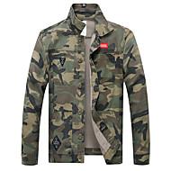 Herre Daglig Basale Efterår vinter Normal Jakke, camouflage Høj krave Langærmet Polyester Sort / Army Grøn XXL / XXXL / 4XL