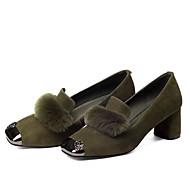 baratos Sapatos Femininos-Mulheres Sapatos Confortáveis Pêlo de Coelho / Camurça Primavera Doce Saltos Salto Robusto Pom Pom Preto / Cinzento / Verde Tropa / Festas & Noite