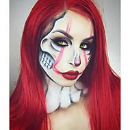 Syntetisk Lace Front Parykker Lige Syntetisk hår Rød Paryk Dame Lang Blonde Front Mørkerød