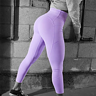 Damen Tasche Yoga-Hose Purpur Pink Grau Sport Volltonfarbe Elasthan Hohe Hüfthöhe Leggins Zumba Tanz Laufen Sportkleidung Kolbenheber Tummy Control Power Flex Dehnbar Schlank / Winter