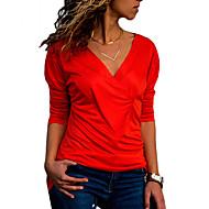 V-hals Tynd Dame - Ensfarvet T-shirt